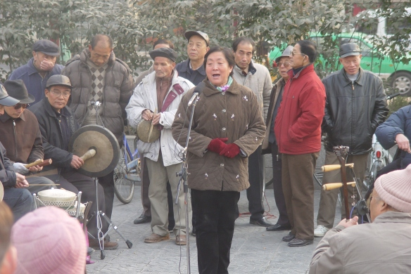 Singing Shaanxi Opera just outside Heping Gate, Xi'an, 2005